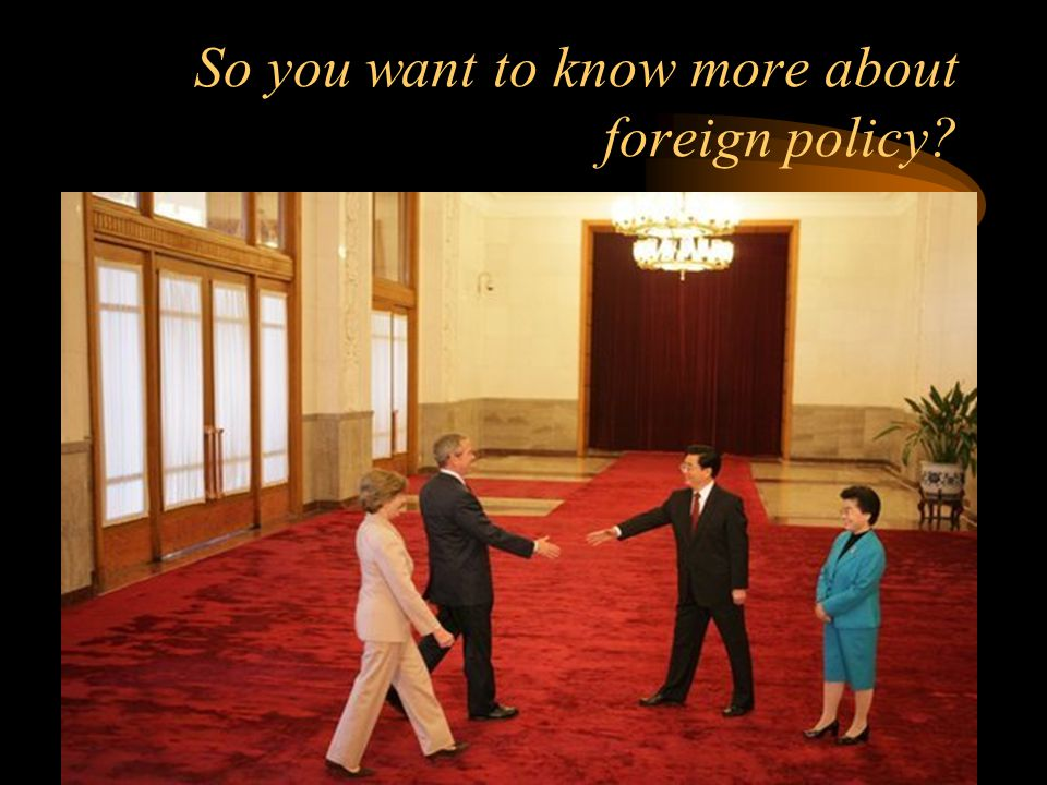So you want to know more about foreign policy