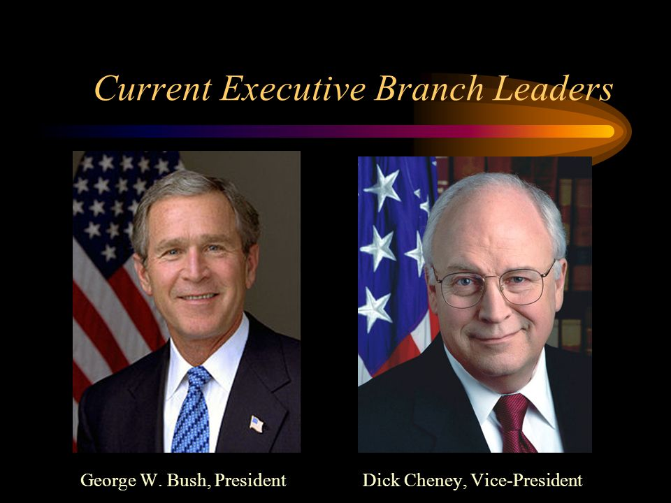 Current Executive Branch Leaders George W. Bush, President Dick Cheney, Vice-President