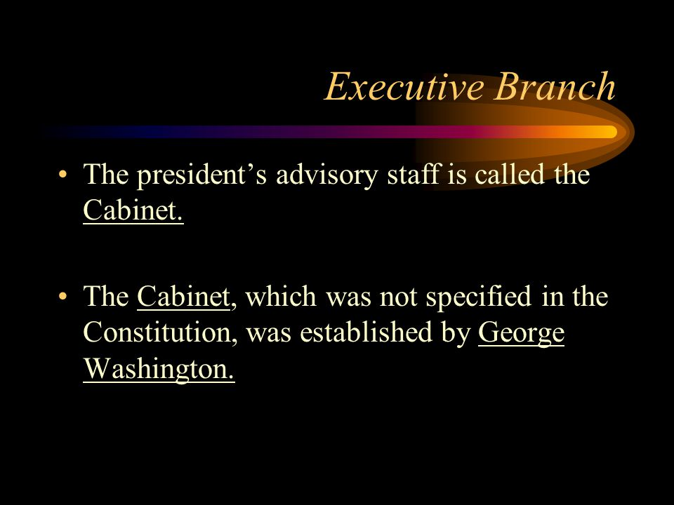 Executive Branch The president's advisory staff is called the Cabinet.