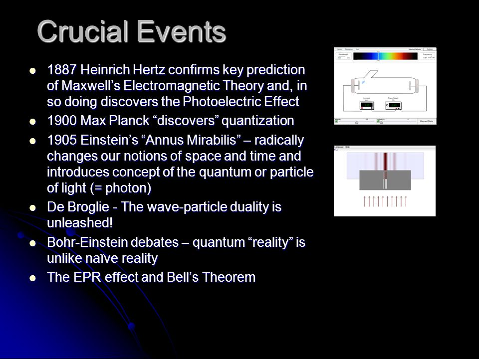 Crucial Events 1887 Heinrich Hertz confirms key prediction of Maxwell's Electromagnetic Theory and, in so doing discovers the Photoelectric Effect 188