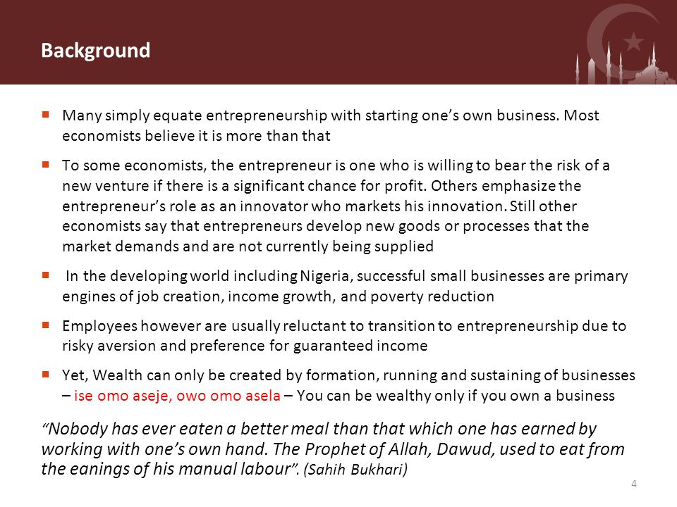 Outline Background Introduction to Entrepreneurship Making the Transition Succeeding as an Entrepreneur Local Context 5