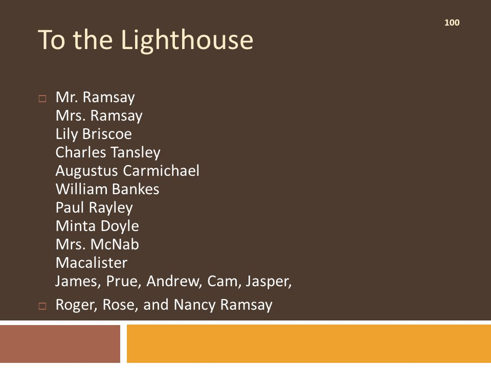 100 To the Lighthouse  Mr. Ramsay Mrs.