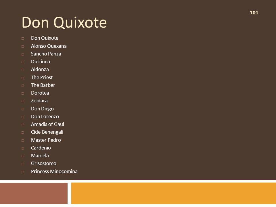 101 Don Quixote  Don Quixote  Alonso Quexana  Sancho Panza  Dulcinea  Aldonza  The Priest  The Barber  Dorotea  Zoidara  Don Diego  Don Lor