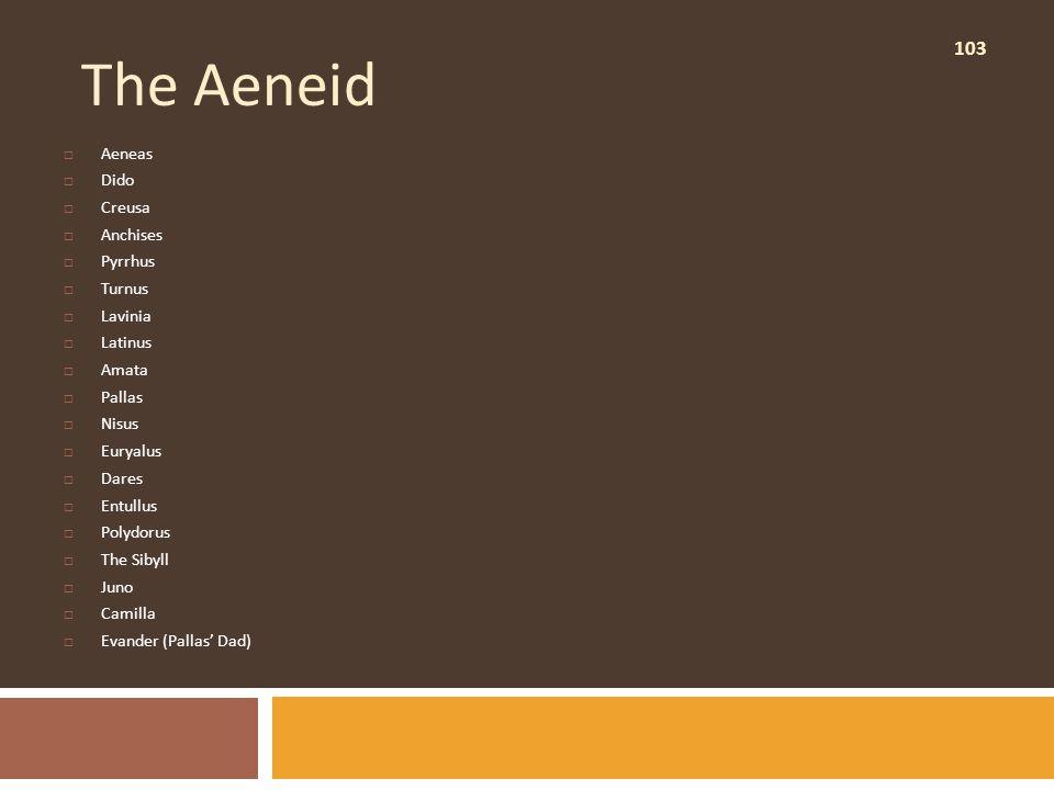 103 The Aeneid  Aeneas  Dido  Creusa  Anchises  Pyrrhus  Turnus  Lavinia  Latinus  Amata  Pallas  Nisus  Euryalus  Dares  Entullus  Polydorus  The Sibyll  Juno  Camilla  Evander (Pallas' Dad)