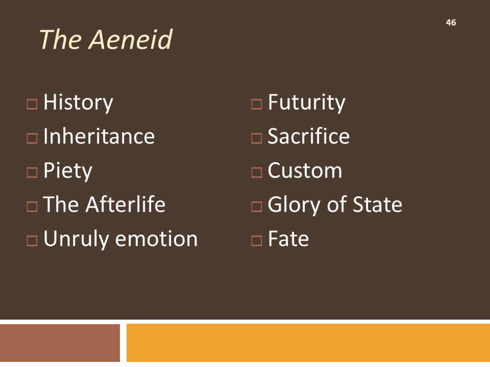 46 The Aeneid  History  Inheritance  Piety  The Afterlife  Unruly emotion  Futurity  Sacrifice  Custom  Glory of State  Fate