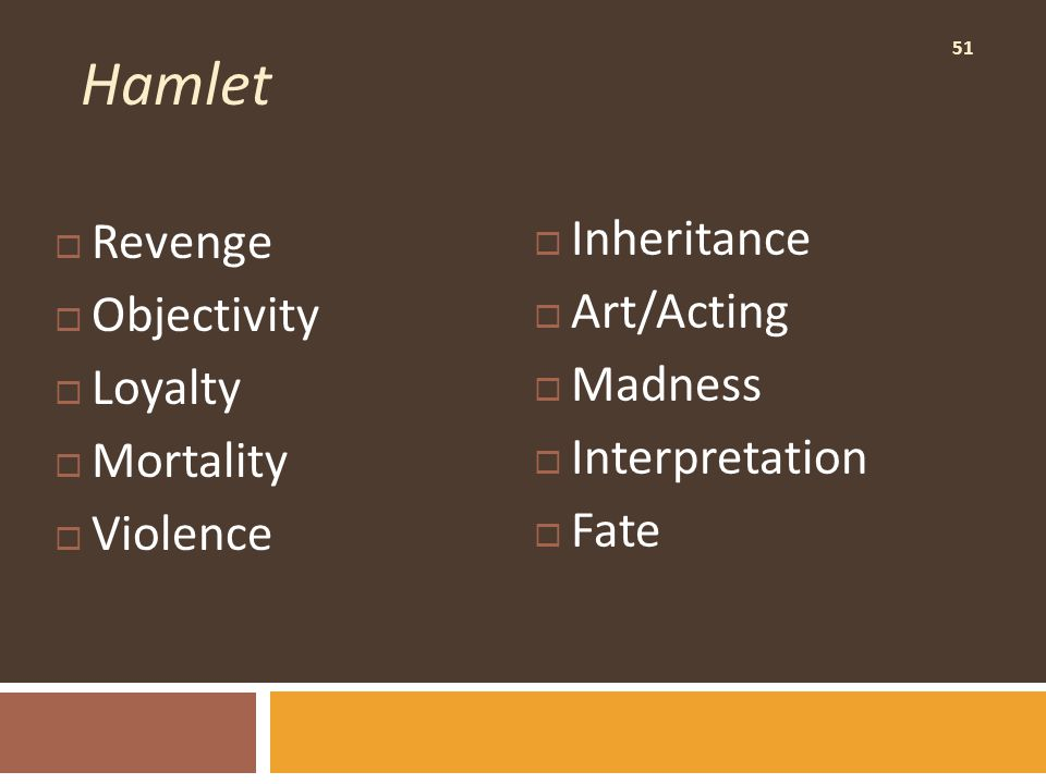 51 Hamlet  Revenge  Objectivity  Loyalty  Mortality  Violence  Inheritance  Art/Acting  Madness  Interpretation  Fate