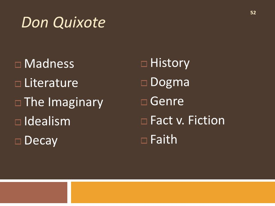 52 Don Quixote  Madness  Literature  The Imaginary  Idealism  Decay  History  Dogma  Genre  Fact v.