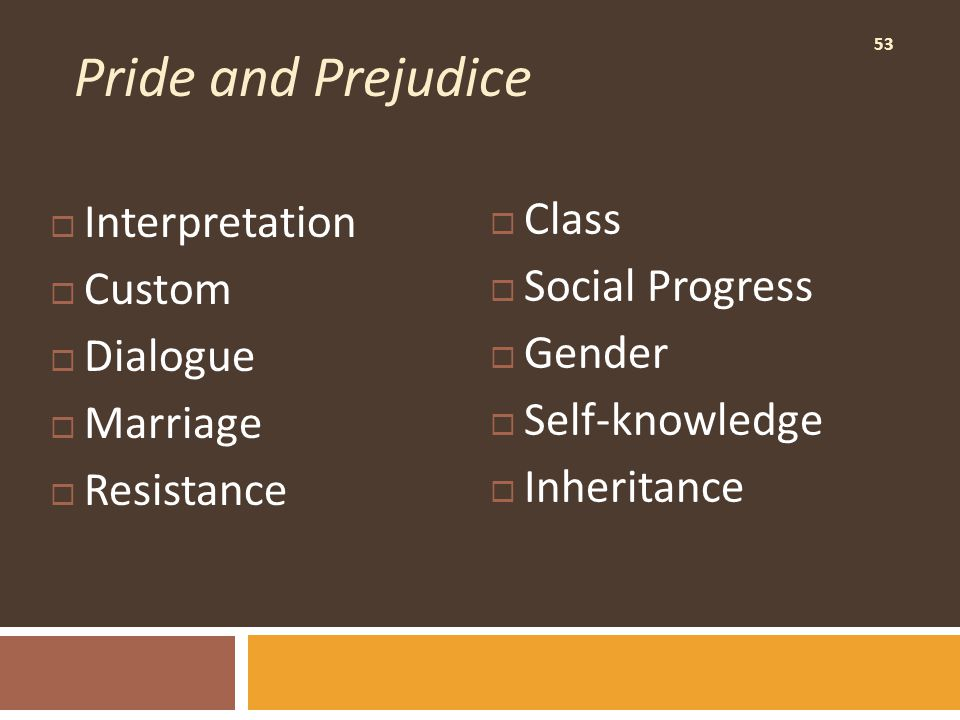 53 Pride and Prejudice  Interpretation  Custom  Dialogue  Marriage  Resistance  Class  Social Progress  Gender  Self-knowledge  Inheritance