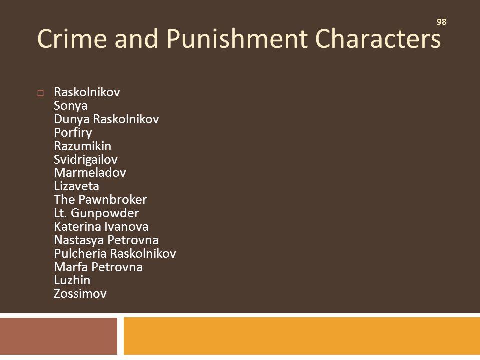 98 Crime and Punishment Characters  Raskolnikov Sonya Dunya Raskolnikov Porfiry Razumikin Svidrigailov Marmeladov Lizaveta The Pawnbroker Lt. Gunpowd