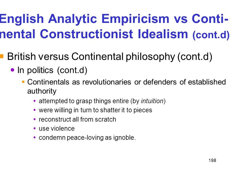 198 English Analytic Empiricism vs Conti- nental Constructionist Idealism (cont.d)  British versus Continental philosophy (cont.d) In politics (cont.
