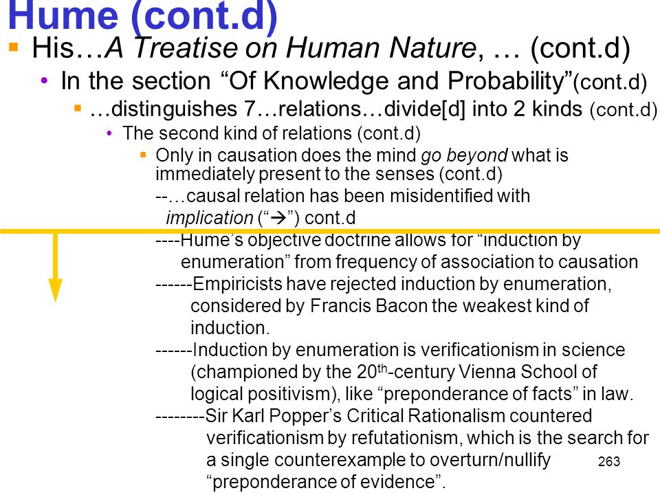 """263 Hume (cont.d)  His…A Treatise on Human Nature, … (cont.d) In the section """"Of Knowledge and Probability"""" (cont.d)  …distinguishes 7…relations…div"""