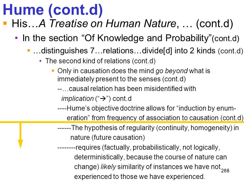 """268 Hume (cont.d)  His…A Treatise on Human Nature, … (cont.d) In the section """"Of Knowledge and Probability"""" (cont.d)  …distinguishes 7…relations…div"""