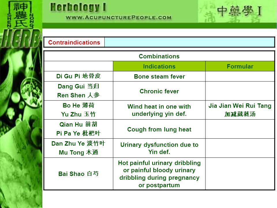 Contraindications Combinations IndicationsFormular Di Gu Pi 地骨皮 Bone steam fever Dang Gui 当归 Ren Shen 人参 Chronic fever Bo He 薄荷 Yu Zhu 玉竹 Wind heat in one with underlying yin def.
