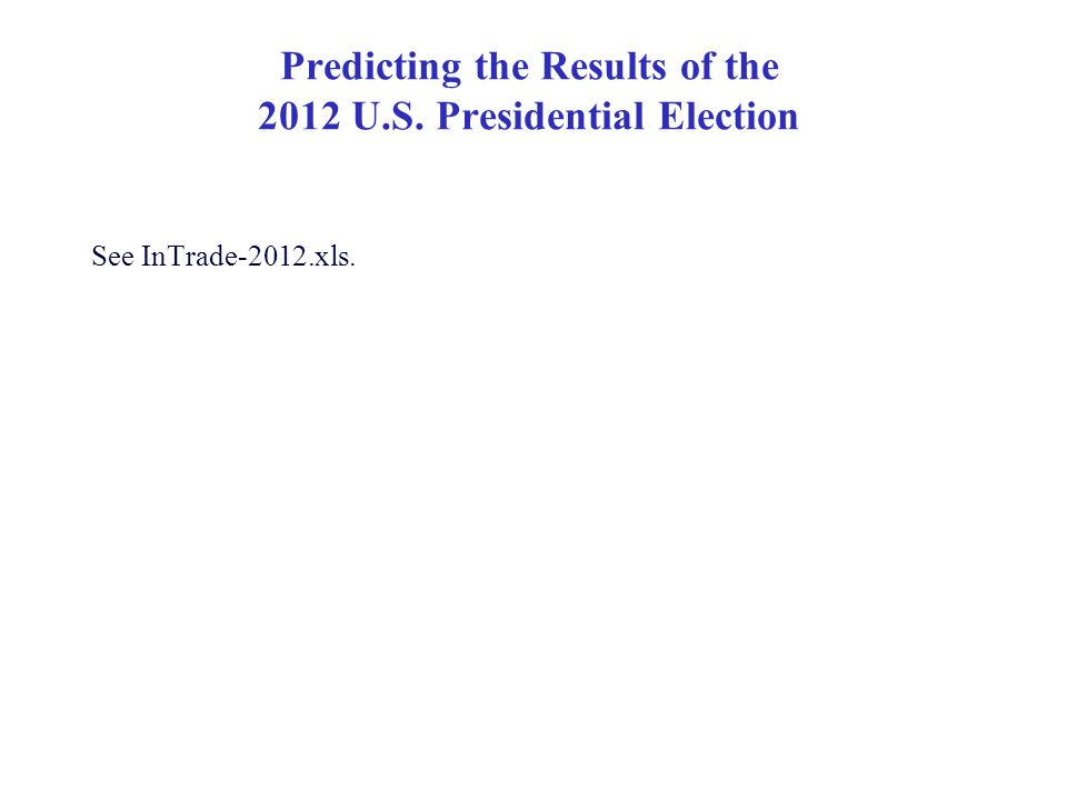 Predicting the Results of the 2012 U.S. Presidential Election See InTrade-2012.xls.