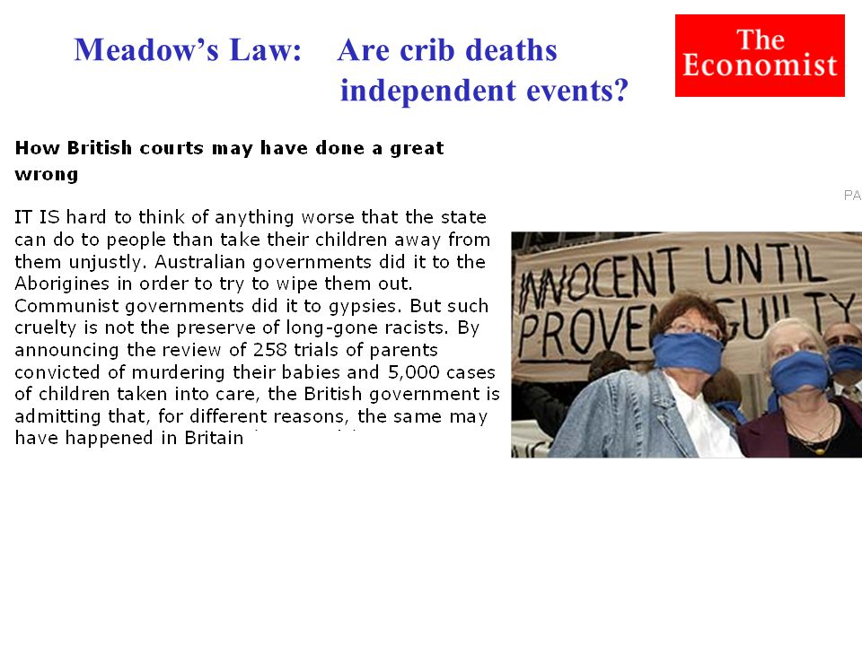 Meadow's Law: Are crib deaths independent events?
