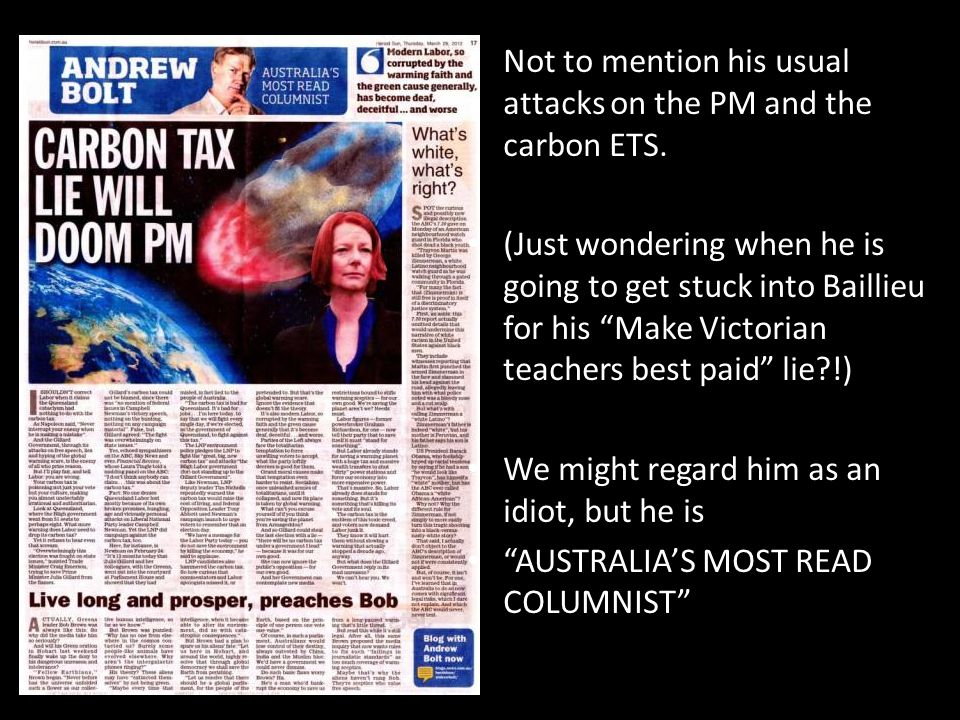 "Not to mention his usual attacks on the PM and the carbon ETS. (Just wondering when he is going to get stuck into Baillieu for his ""Make Victorian tea"