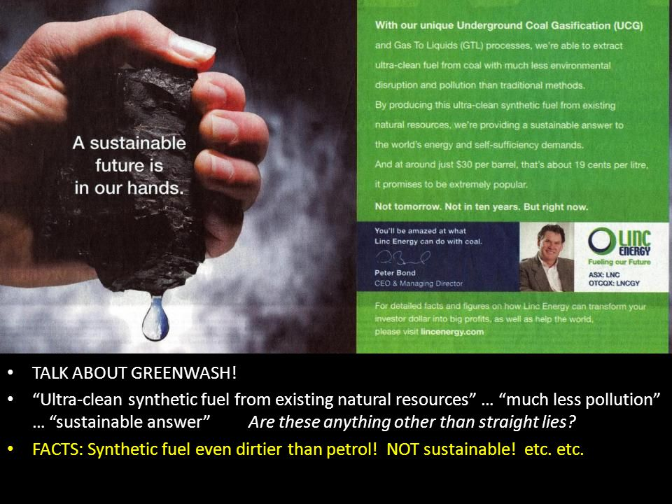 "Blank TALK ABOUT GREENWASH! ""Ultra-clean synthetic fuel from existing natural resources"" … ""much less pollution"" … ""sustainable answer"" Are these anyt"