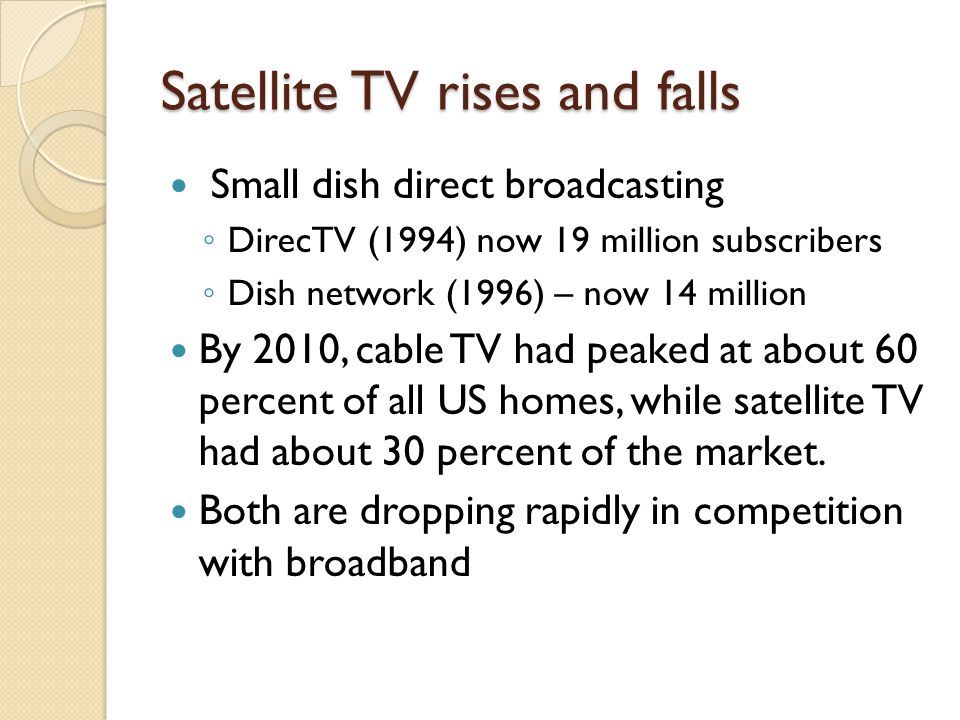 Satellite TV rises and falls Small dish direct broadcasting ◦ DirecTV (1994) now 19 million subscribers ◦ Dish network (1996) – now 14 million By 2010, cable TV had peaked at about 60 percent of all US homes, while satellite TV had about 30 percent of the market.