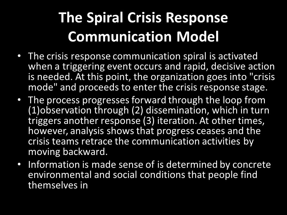 The Spiral Crisis Response Communication Model The crisis response communication spiral is activated when a triggering event occurs and rapid, decisiv