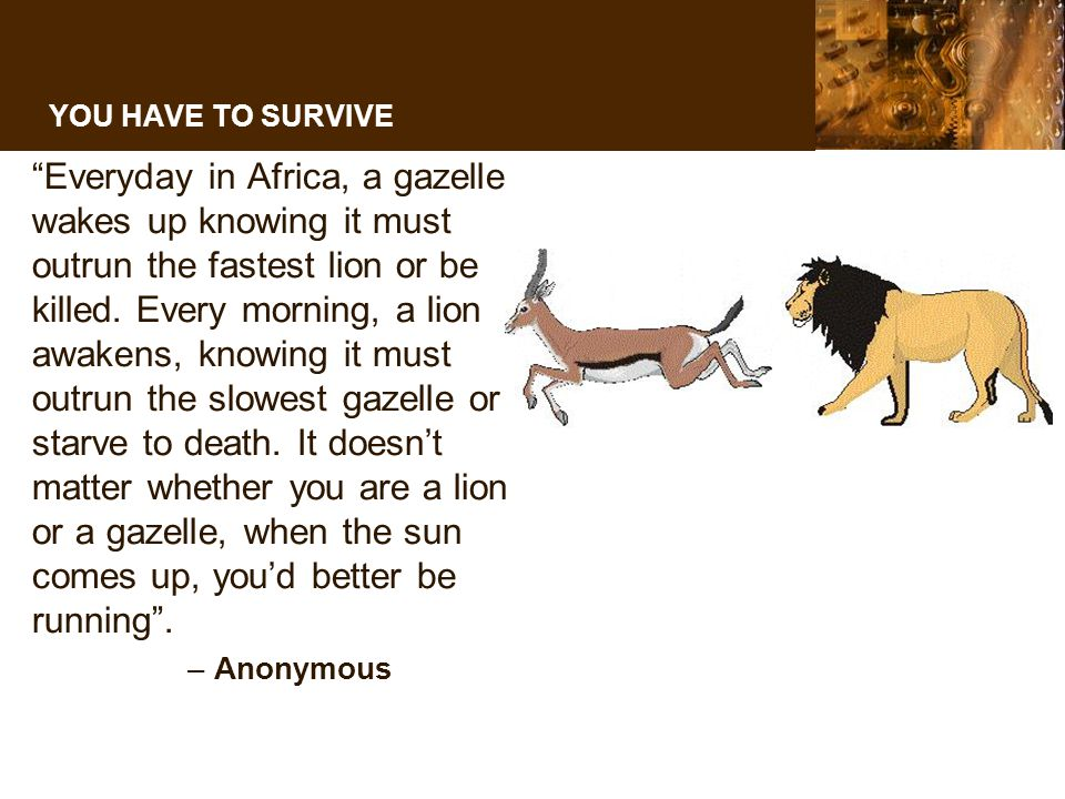 YOU HAVE TO SURVIVE Everyday in Africa, a gazelle wakes up knowing it must outrun the fastest lion or be killed.