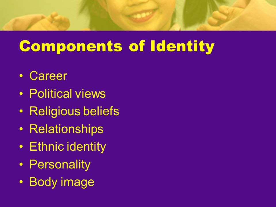 Components of Identity Career Political views Religious beliefs Relationships Ethnic identity Personality Body image