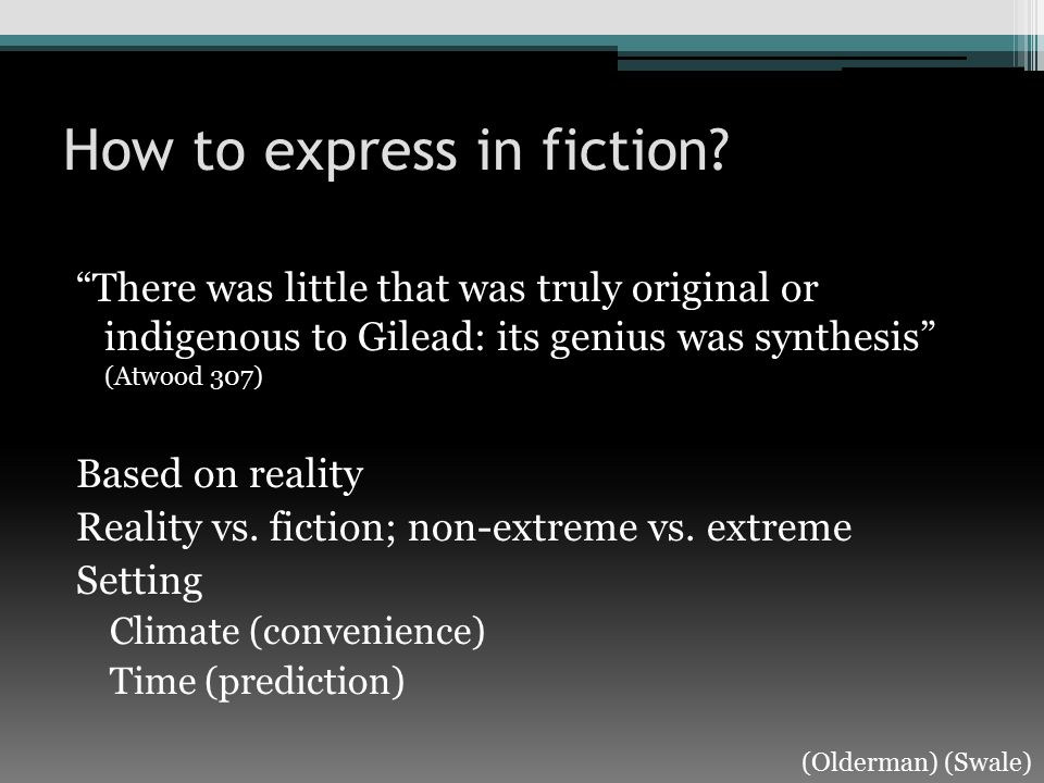 How to express in fiction.