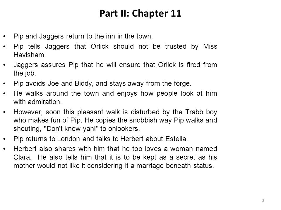 Discussion Points The chapter is an anticipation of the great expectations that Pip has regarding his benefactor.