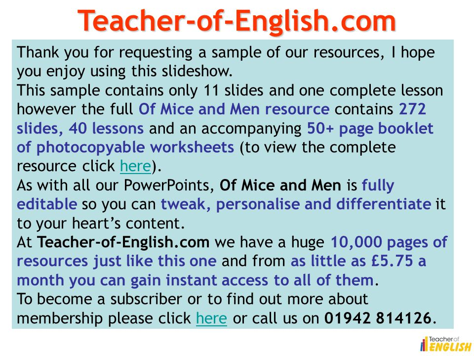 Teacher-of-English.com Thank you for requesting a sample of our resources, I hope you enjoy using this slideshow.