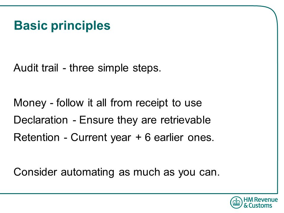 Basic principles Audit trail - three simple steps.
