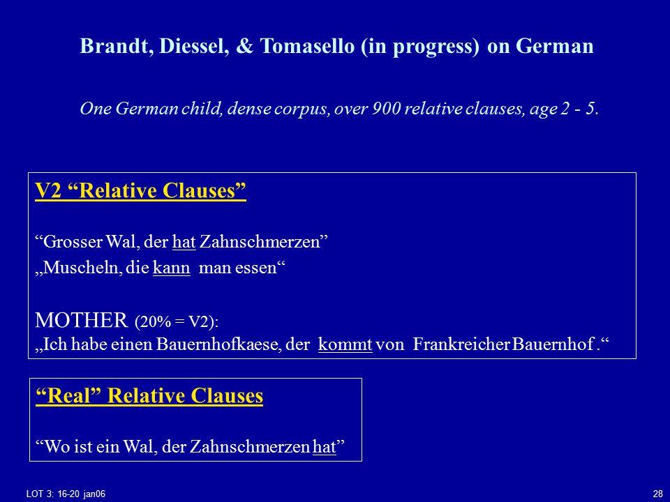 """LOT 3: 16-20 jan0628 Brandt, Diessel, & Tomasello (in progress) on German V2 Relative Clauses Grosser Wal, der hat Zahnschmerzen """"Muscheln, die kann man essen MOTHER (20% = V2): """"Ich habe einen Bauernhofkaese, der kommt von Frankreicher Bauernhof. Real Relative Clauses Wo ist ein Wal, der Zahnschmerzen hat One German child, dense corpus, over 900 relative clauses, age 2 - 5."""