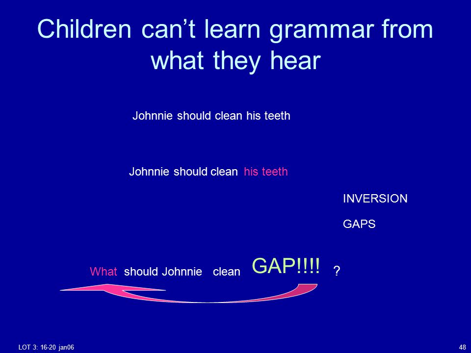 LOT 3: 16-20 jan0648 Johnnie should clean his teeth Johnnieshouldcleanhis teeth Whatshould Johnnie clean GAP!!!! ? INVERSION GAPS Children can't learn
