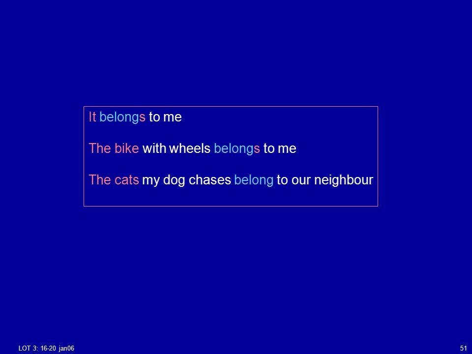 LOT 3: 16-20 jan0651 It belongs to me The bike with wheels belongs to me The cats my dog chases belong to our neighbour