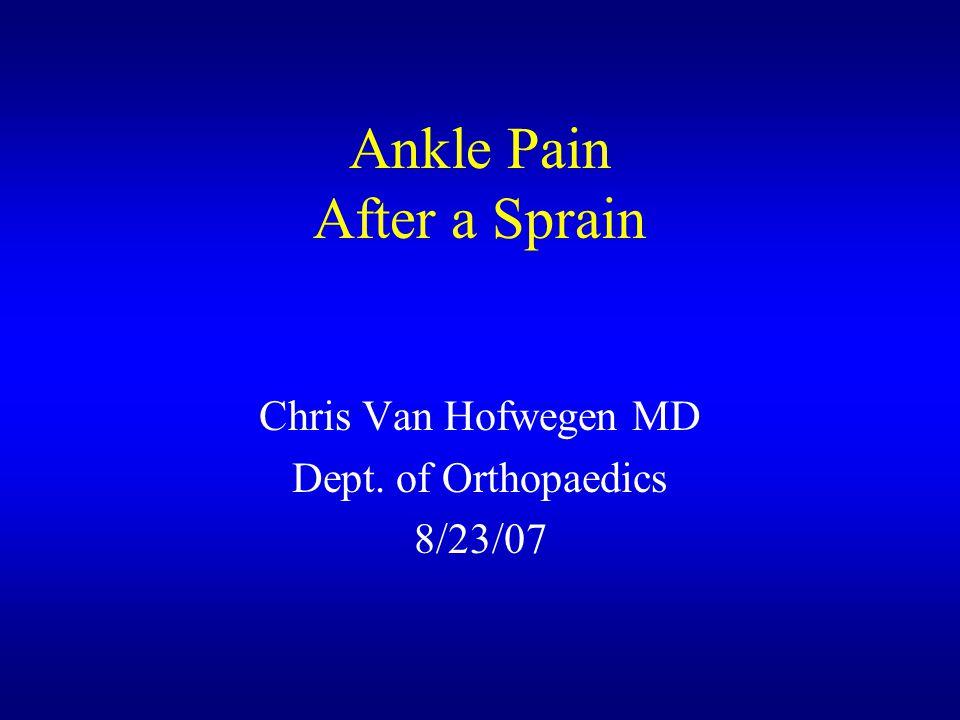 Ankle Pain After a Sprain Chris Van Hofwegen MD Dept. of Orthopaedics 8/23/07