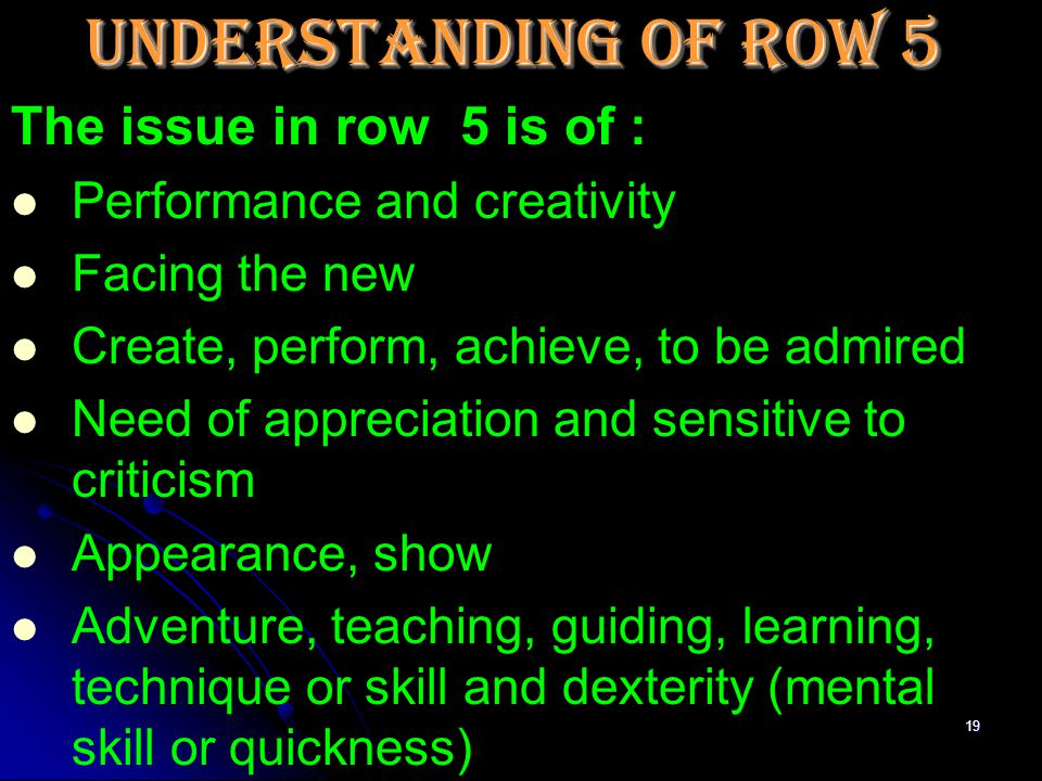 18 Understanding of Row 5 From : Dr.Rajan Sankaran's STRUCTURE