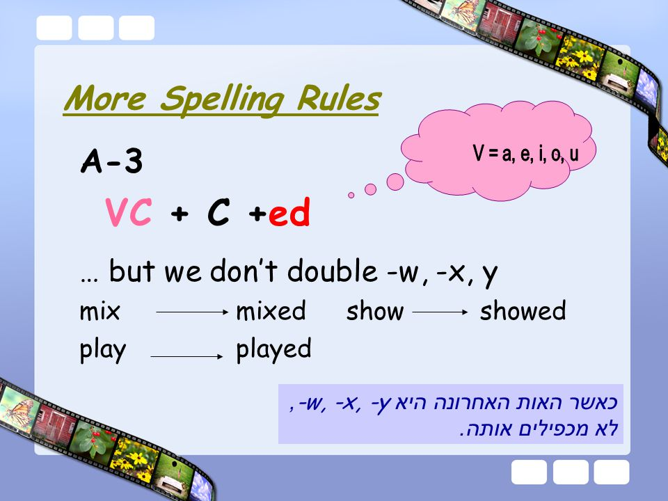 A-3 VC + C +ed … but we don't double -w, -x, y mix mixedshow showed play played More Spelling Rules כאשר האות האחרונה היא -w, -x, -y, לא מכפילים אותה.