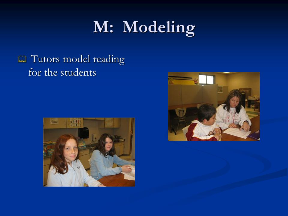 M: Modeling  Tutors model reading for the students