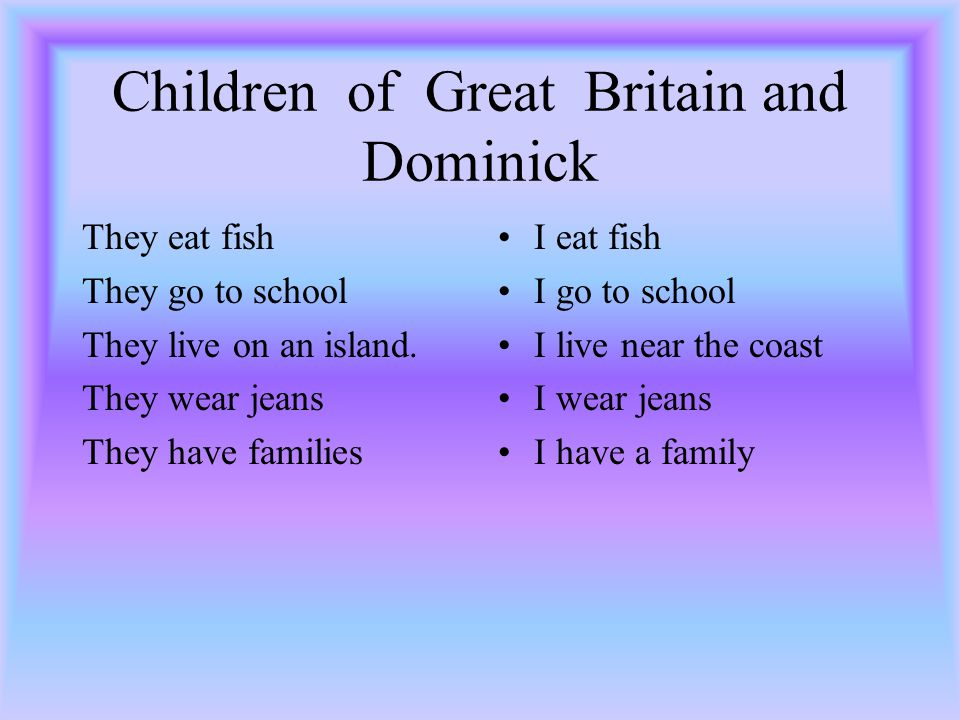 Children of Great Britain and Dominick They eat fish They go to school They live on an island.