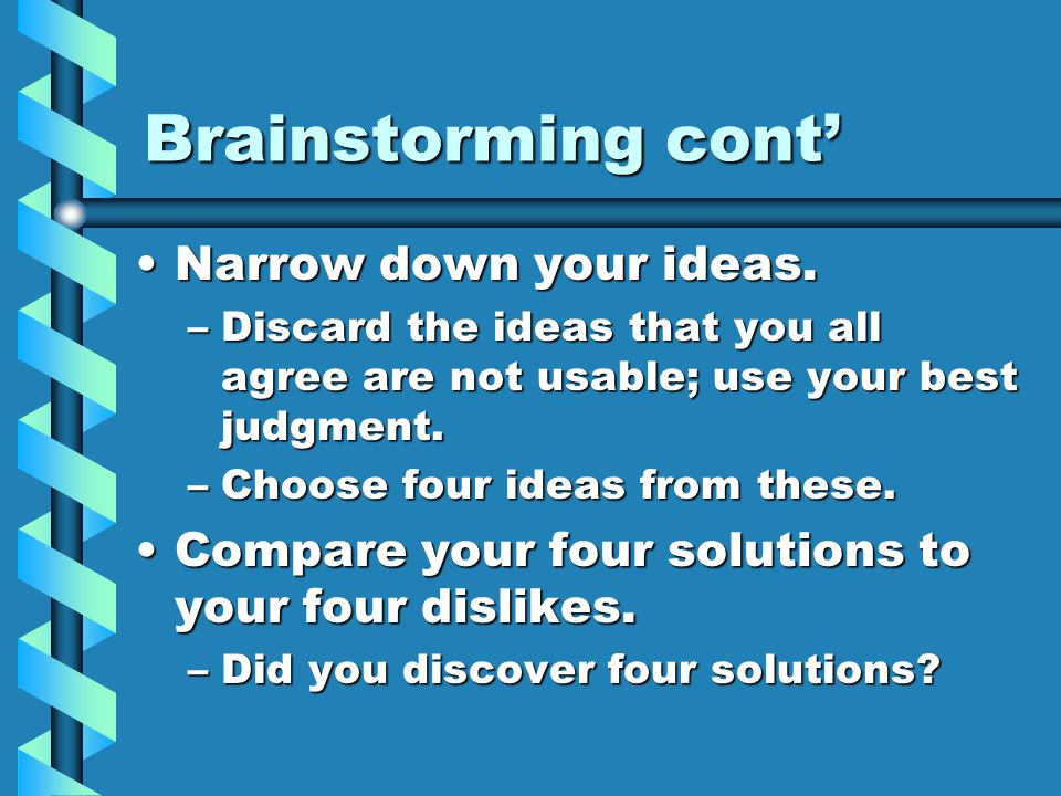 Brainstorming cont' Narrow down your ideas.Narrow down your ideas.