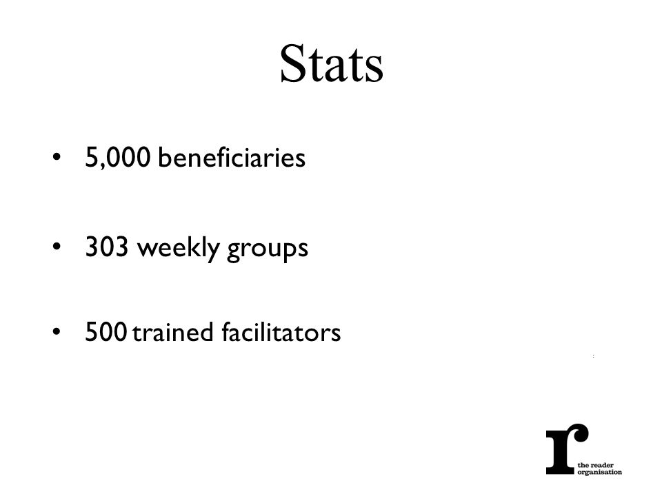 5,000 beneficiaries 303 weekly groups 500 trained facilitators : Stats