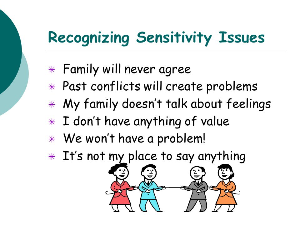 Recognizing Sensitivity Issues  Family will never agree  Past conflicts will create problems  My family doesn't talk about feelings  I don't have anything of value  We won't have a problem.