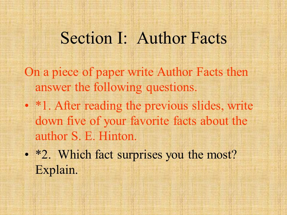 Section I: Author Facts On a piece of paper write Author Facts then answer the following questions.