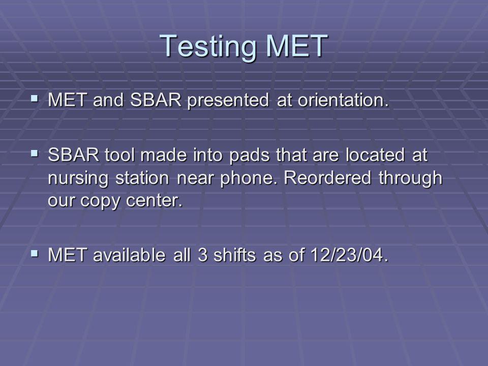 Testing MET  MET and SBAR presented at orientation.