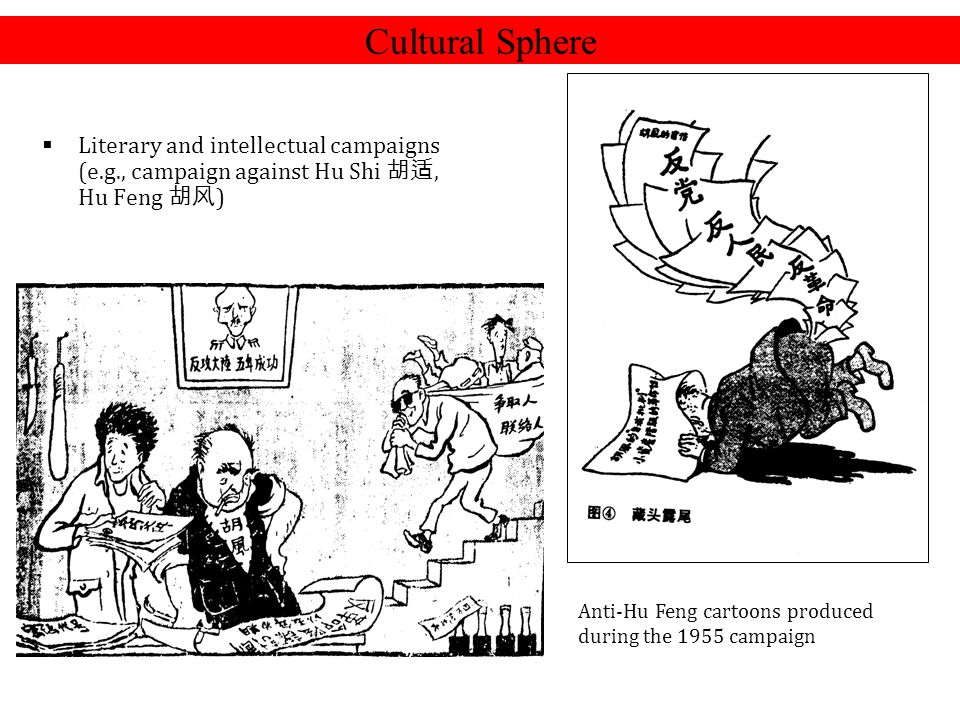  Literary and intellectual campaigns (e.g., campaign against Hu Shi 胡适, Hu Feng 胡风 ) Cultural Sphere Anti-Hu Feng cartoons produced during the 1955 c