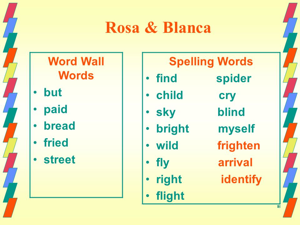 Rosa & Blanca Word Wall Words but paid bread fried street Spelling Words find spider child cry sky blind bright myself wild frighten fly arrival right identify flight