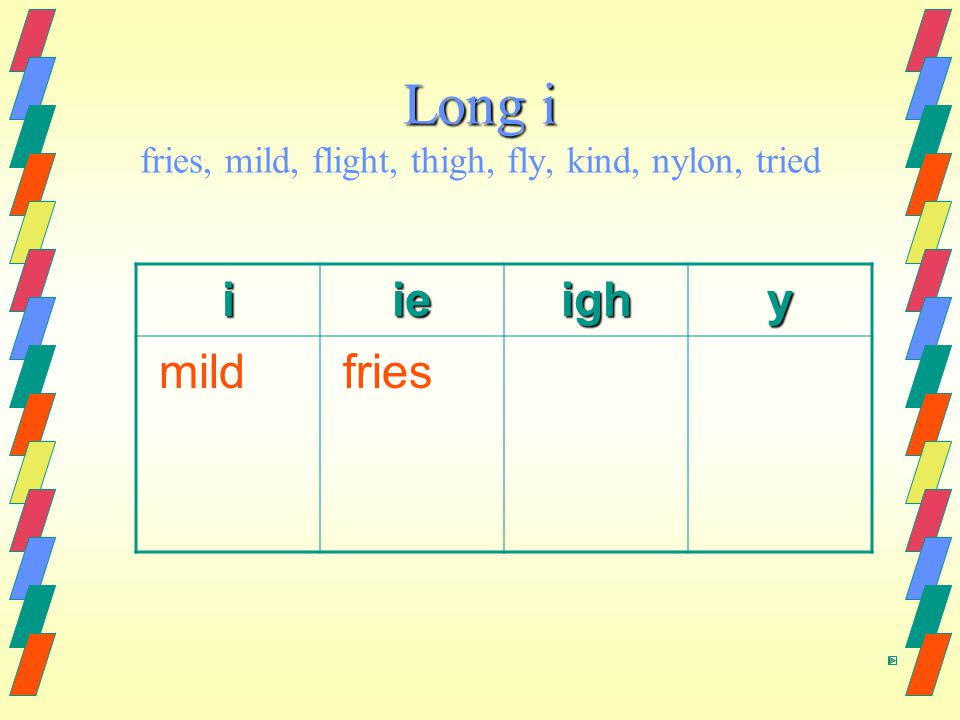 Long i Long i fries, mild, flight, thigh, fly, kind, nylon, tried iieighy mild fries