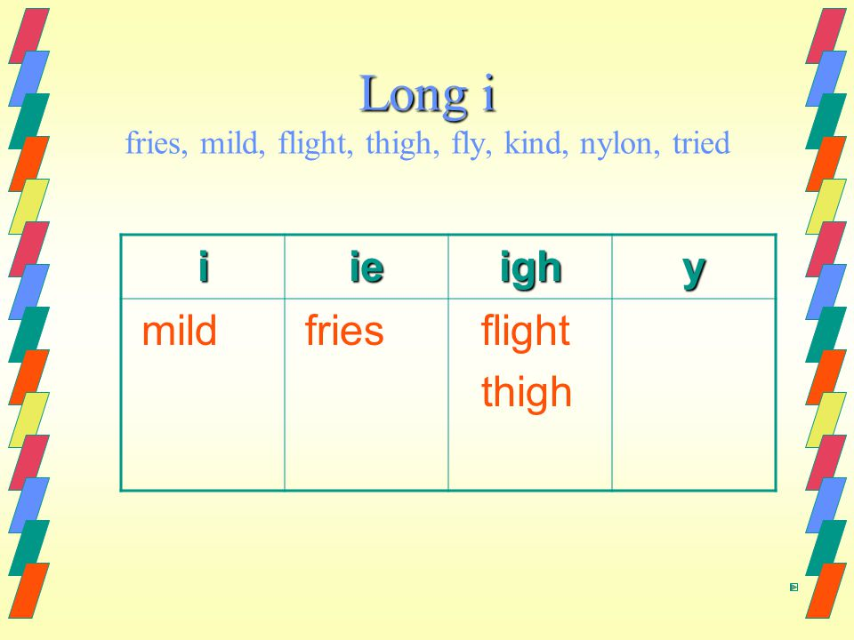 Long i Long i fries, mild, flight, thigh, fly, kind, nylon, tried iieighy mild fries flight thigh