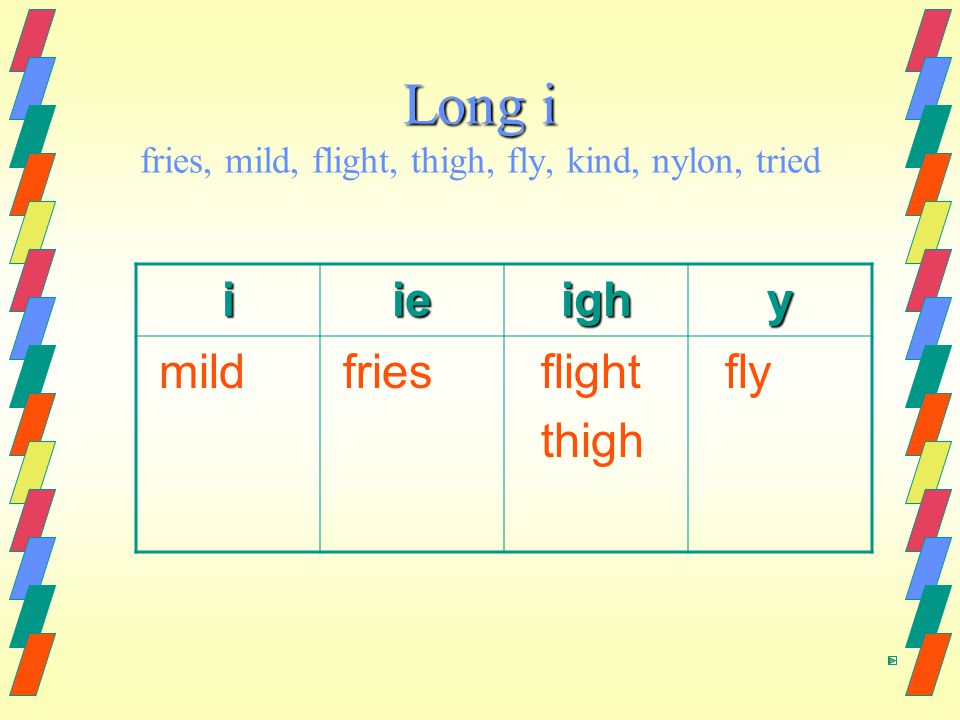 Long i Long i fries, mild, flight, thigh, fly, kind, nylon, tried iieighy mild fries flight thigh fly
