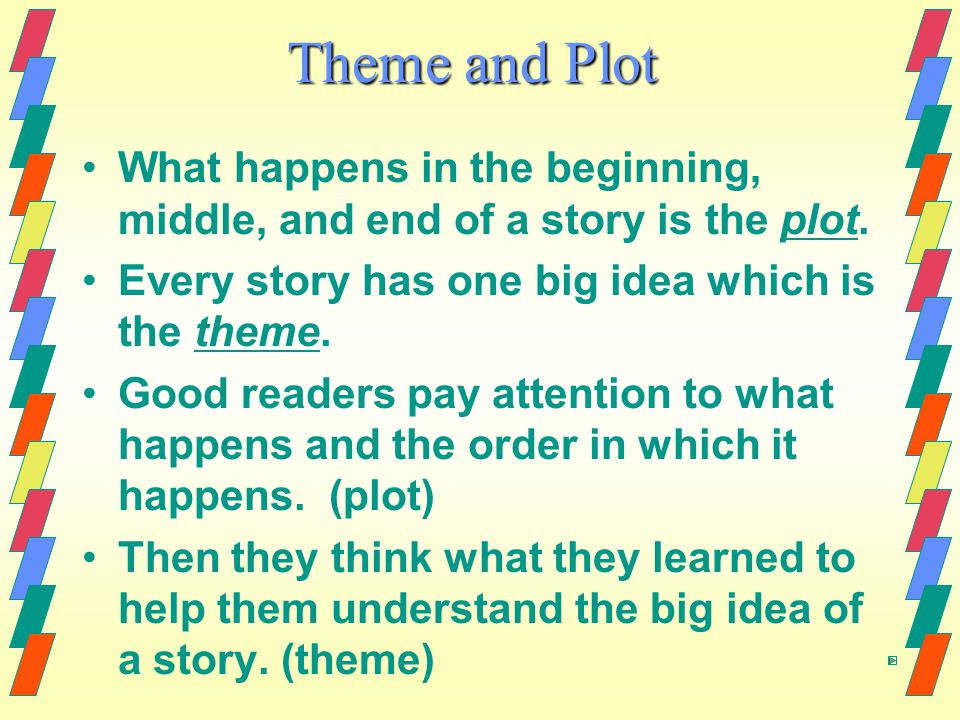 Theme and Plot What happens in the beginning, middle, and end of a story is the plot.
