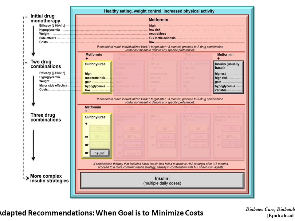 Adapted Recommendations: When Goal is to Minimize Costs Diabetes Care, Diabetologia.