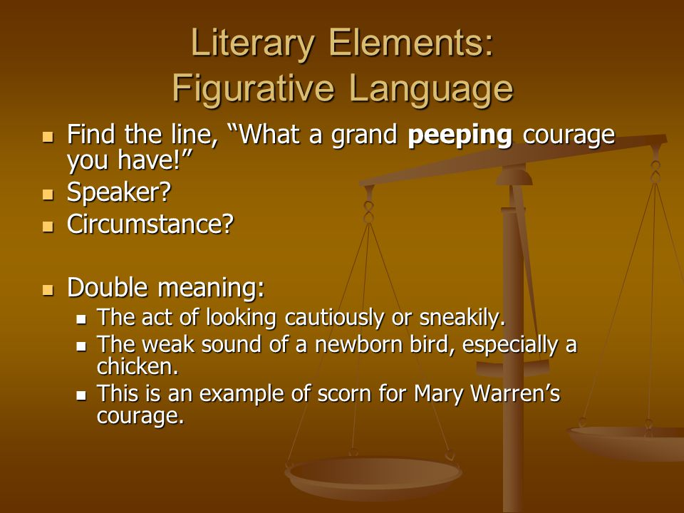 Literary Elements: Figurative Language Find the line, What a grand peeping courage you have! Find the line, What a grand peeping courage you have! Speaker.